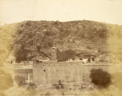 General view of Jain caves and Hindu temple at Dharasinva